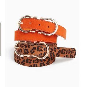 Orange and Leopard Print Belt Set